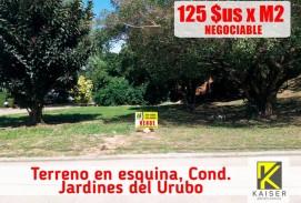 Hermoso terreno en esquina, Condominio Jardines del Urubo