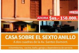ID 382 - NESA Vende casa sobre el 6to Anillo a dos cuadras de la Av. Santos Dumont